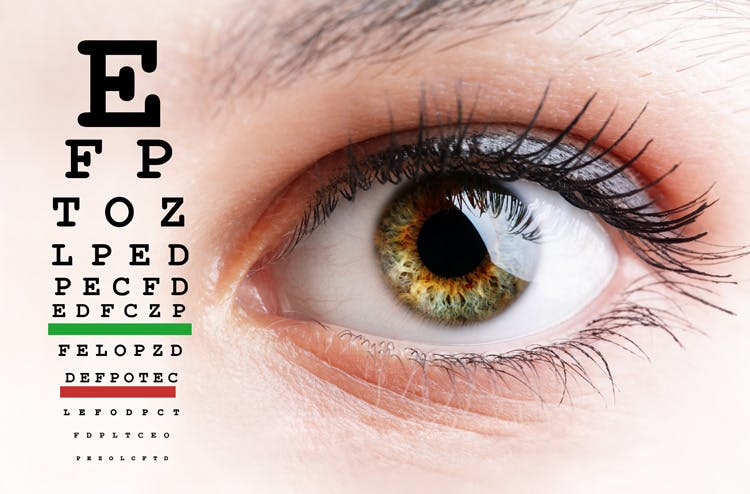 eye chart with eye for post-concussion syndrome treatment