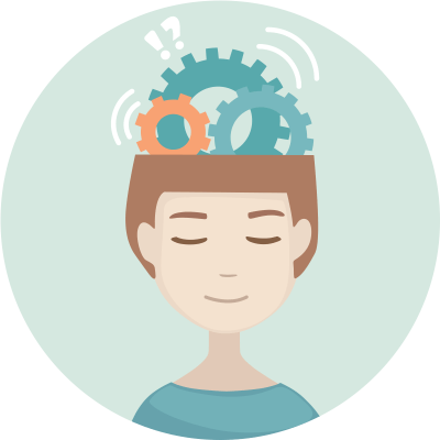 cartoon of person closing their eyes, with gears in their head representing their brain working to repair itself