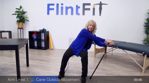 physical therapist demonstrating seated range of motion exercise