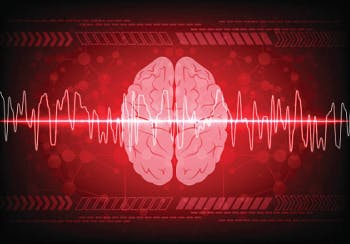 Red brain scan with brain waves, illustrating a frontal lobe seizure