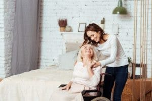 woman caring for someone with brain injury