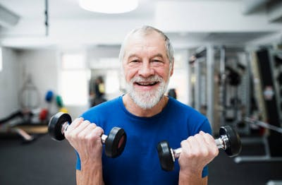 elderly man with brain injury and dementia exercising