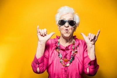 grandma in party clothes demonstrating major personality changes after stroke