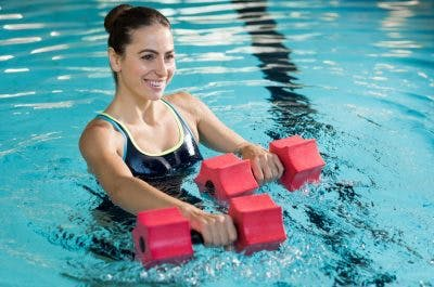 using floating barbells aquatic therapy for cerebral palsy