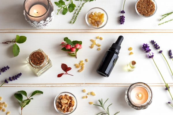 Bottles of essential oils for brain injury