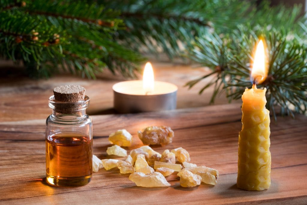 bottle of frankincense essential oil for brain injury