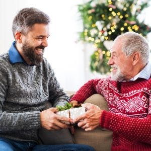 son giving his father great gifts for stroke patients