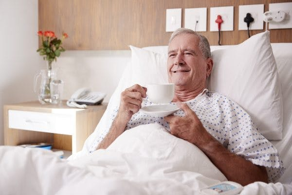 man in hospital working on swallowing exercises for stroke patients