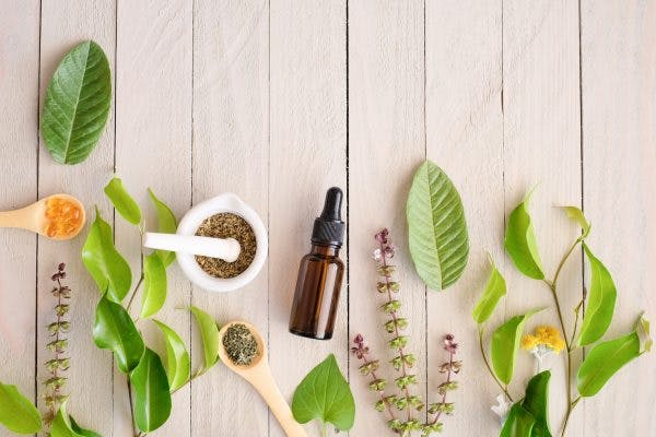 flatlay of essential oils for stroke recovery