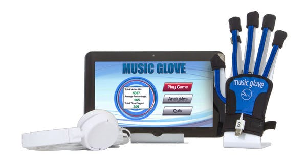 MusicGlove with tablet and headphones
