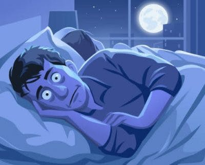 funny drawing of man with insomnia, a sleep disorder that causes chronic fatigue syndrome after tbi