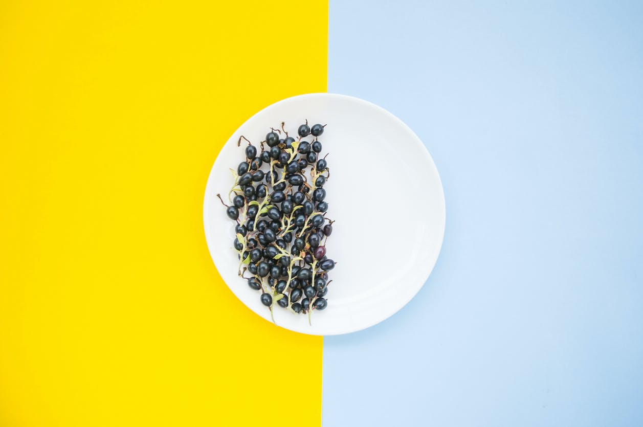 Fresh blackberries on clear white plate on pastel blue and yellow background, half the plate is empty.
