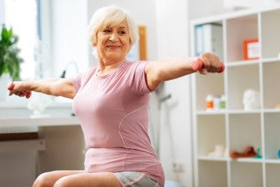 stroke patient doing active exercise