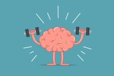 cartoon image of a brain holding dumbbells to illustrate cognitive-communication activities