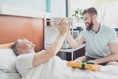 son helping his father cope with post-traumatic amnesia