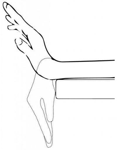 skizzieren Sie Kunst des Handgelenks, das vom Tisch hängt, der sich auf und ab bewegt