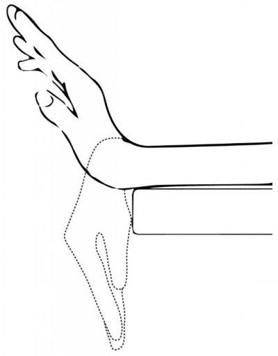 sketch art of wrist hanging off table moving up and down