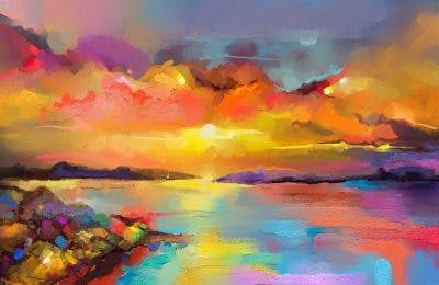 abstract oil painting of colorful sunset