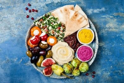 plate full of healthy mediterranean food to improve second stroke survival chances