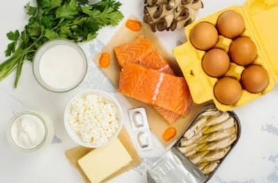fatty fish and dairy are good sources of vitamin d and calcium to promote bone health