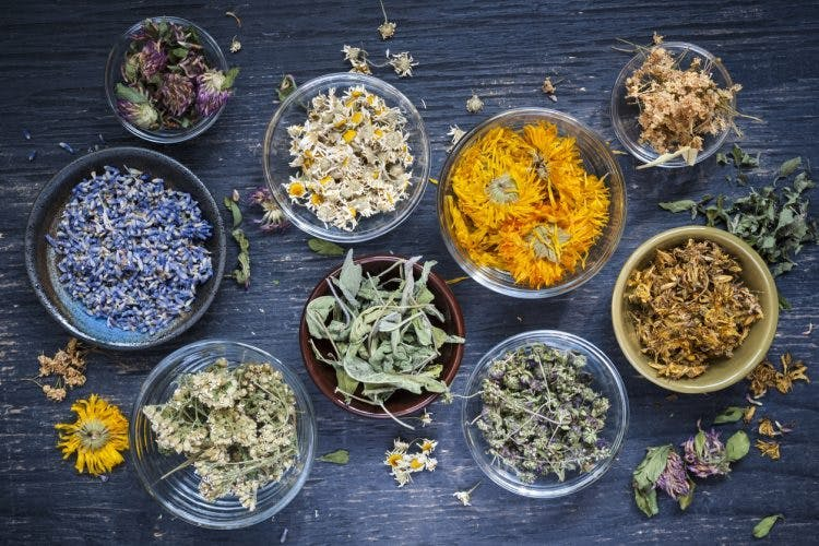 jars of colorful chinese herbs for stroke recovery