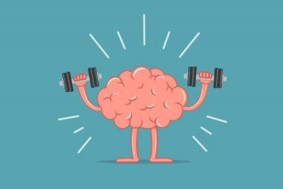 cartoon drawing of a brain lifting weights to represent improved brain function