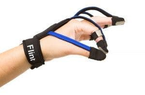 Hand wearing MusicGlove, one of the best types of gloves for stroke patients