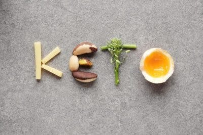 "healthy foods arranged to spell ""keto"" over a gray background"