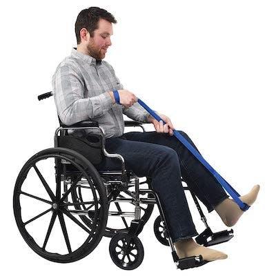 man practicing paraplegic exercises in wheelchair