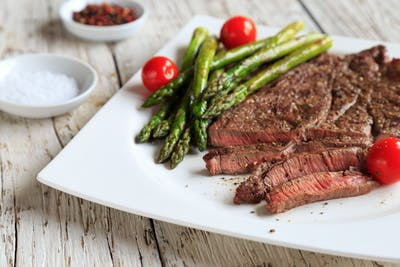 plate with steak and asparagus, two of the best foods for brain injury recovery