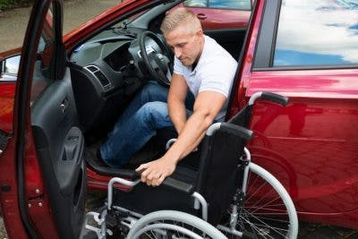 man with paraplegia learning how to drive again