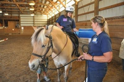 physical therapist guiding hippotherapy session