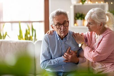stroke survivor experiencing chest pain due to seizure