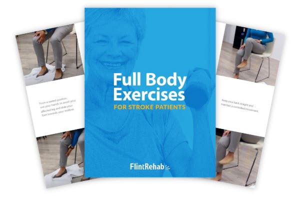 cover and pages from stroke rehab exercise ebook by Flint Rehab