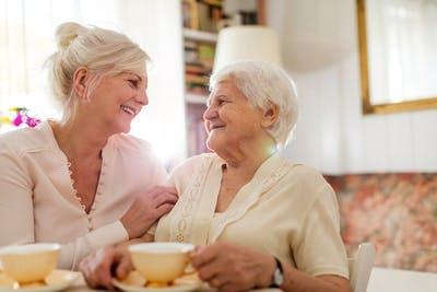 Frau trinkt Tee mit älterer Mutter in ihrem Wohnzimmer