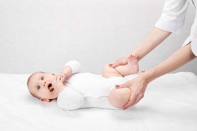 infant with cerebral palsy getting treatment for hip dysplasia