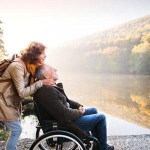 man with paraplegia enjoying quality time with wife